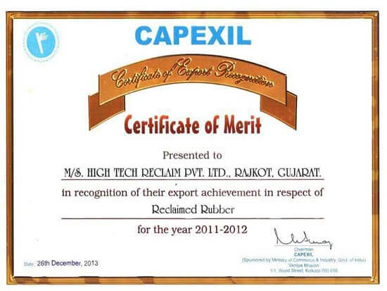 Capexil-Certificatefor-Recycle-Rubber