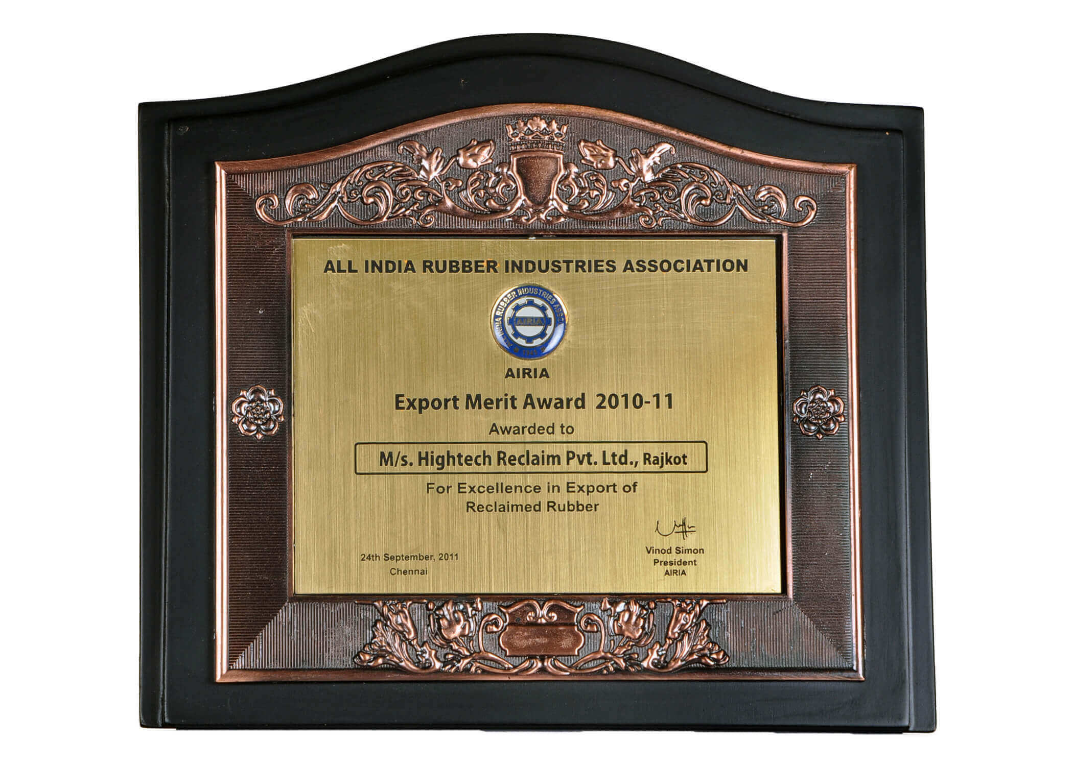 Export Award for Reclaimed Rubber